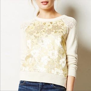 Anthropologie HWR Monogram Floral Brocade Sweater